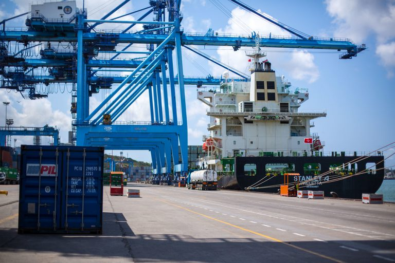 KENYA, Mombasa: Photograph taken by the Kenyan Ministry of East African Affairs, Commerce and Tourism (MEAACT) 31 July shows a ship docked at Mombasa Port on Kenya's Indian Ocean coast. MANDATORY CREDIT: MEAACT PHOTO / STUART PRICE.